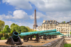 Cannons Invalides Eiffel Stock Photo