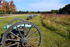 Cannons at Leetown Battlefield. A row of cannons overlooks the Leetown battlefield at Pea Ridge National Park in northwest Arkansas, Confederate generals Ben Royalty Free Stock Photos