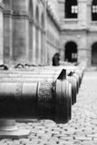 Cannons lined up inside the Hôtel des Invalides in Paris, France royalty free stock photography