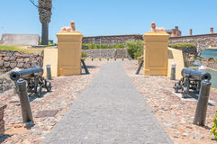 Cannons and lions guarding the Castle of Good Hope Royalty Free Stock Photography