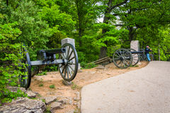 Cannons on Little Round Top, in Gettysburg, Pennsylvania. Royalty Free Stock Images