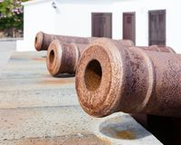 Cannons Look Out From the Castle of the Virgin in Santa Cruz de La Palma. Cannons look out from the Castle of the Virgin. The castle is in Santa Cruz on the Royalty Free Stock Photos