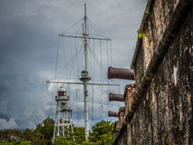 Cannons and a mast at an old fort. Cannons from an old fort point outwards with a mast and lighthouse in the background Royalty Free Stock Photo