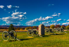 Cannons and a monument at Gettysburg, Pennsylvania. Stock Photography