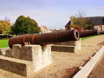 Caen. Cannons on the old battlements at caen Normandy Stock Images