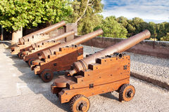 Cannons at old fortress in medieval town of Granada. Spain Royalty Free Stock Photography