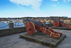 Cannons in the old town of Fredrikstad. Royalty Free Stock Photo