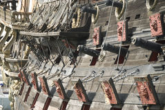 Cannons of a pirate ship. Old traditional pirate ship armed stock photos