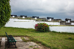 Cannons pointing at Havana at La Fortaleza de San Carlos de la cabana Royalty Free Stock Images