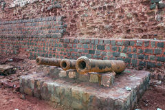 Cannons at Portuguese fortress on Hormoz island Royalty Free Stock Photography
