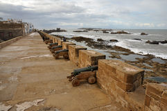 Cannons at Ramparts in Essaouria Royalty Free Stock Photo