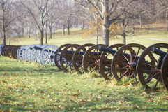 Cannons at the Revolutionary War National Park at sunrise, Valley Forge, PA Royalty Free Stock Images