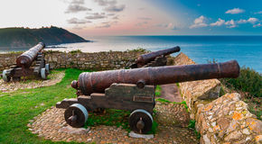 Cannons of Ribadesella Stock Images