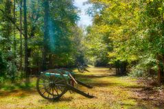 The Cannons at Shiloh, Tennessee. The cannons at Shiloh, Tennessee on a bright, sunny day. The cannons were used during the Civil War battle at Shiloh. A ray of royalty free stock photo