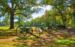 The Cannons at Shiloh, Tennessee. The line of cannons at Shiloh, Tennessee on a bright, sunny day. The cannons were used during the Civil War battle at Shiloh stock photography