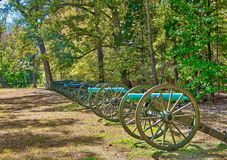 The Cannons at Shiloh, Tennessee. The line of cannons at Shiloh, Tennessee on a bright, sunny day. The cannons were used during the Civil War battle at Shiloh royalty free stock photo