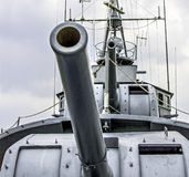 Cannons on the ship. Cannons tower on the battleship stock images