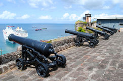 Cannons in St George's Fort. Grenada in the West Indies Royalty Free Stock Photography