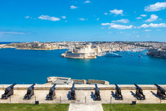 The cannons of Valletta, The Saluting Battery, Malta. EU Stock Photos