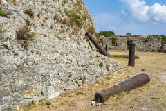 Cannons in the Venetian Castle of Agia Mavra - Greek island of Lefkada Royalty Free Stock Image
