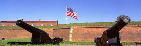 Cannons and wall at Fort McHenry National Monument Stock Photo