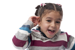 Cannot Hear You. Sweet Girl Expressing I Cannot Hear You Stock Photo