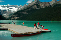 Cannoying in Lake Louise Royalty Free Stock Photography