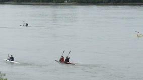 Canoë d'équitation sur la rivière clips vidéos