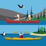 Canoë-kayak et kayaking Images libres de droits