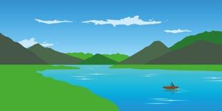 Canoë-kayak isolé sur l'aventure de rivière pendant l'été avec le vert Illustration Stock