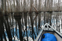Canoë-kayak sur le verre réfléchissant Images libres de droits