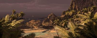 Canoë tropical d'île et de tangon illustration de vecteur