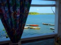 Canoës dans la fenêtre photo libre de droits