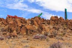 Canoës dans les roches dans Terliqua, le Texas Photo libre de droits