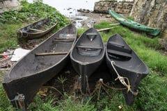 Canoës de pirogue de vintage au Panama images libres de droits