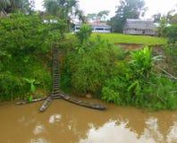 Canoës de rivière au village de forêt images libres de droits