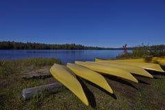 Canoës jaunes dans une rangée image libre de droits