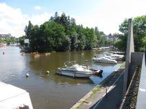 Canoës sur l'Erdre à Nantes photo libre de droits