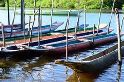 Canoës sur le fleuve Amazone images stock