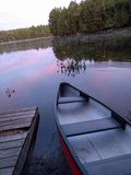 Canoa alla rottura dell'alba Fotografia Stock Libera da Diritti