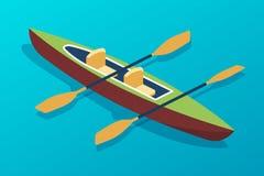 Canoa de madeira do barco com remos Transportar de rio, feriados do mar ilustração royalty free