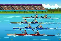 Canoa de montada dos povos no rio durante a competição Imagem de Stock Royalty Free