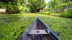 Canoa en los remansos de Kerala, la India Fotografía de archivo