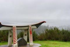 Canoa indiana do enterro na coluna de Astoria em Oregon Fotografia de Stock Royalty Free