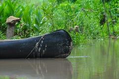Canoa na boca de rio argentina que é o único availa do transporte imagens de stock royalty free