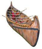 Canoa nativa da casca de vidoeiro dos grandes lagos isolados no branco Fotografia de Stock Royalty Free