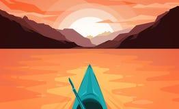 Canoa no lago Por do sol ilustração stock
