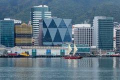Canoa polinesiana del doppio guscio in Wellington City Harbor, Nuova Zelanda fotografia stock