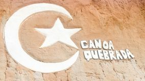 Canoa quebrada在ceara状态的海滩商标 免版税库存图片