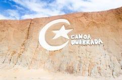 Canoa quebrada在ceara状态的海滩商标 库存图片